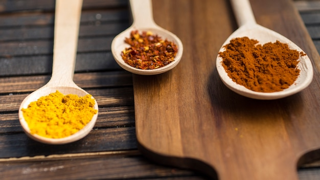 Spoons with aromatic spices