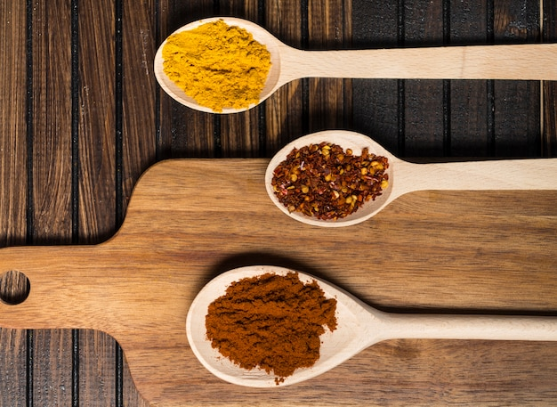 Spoons with hot spices near cutting board