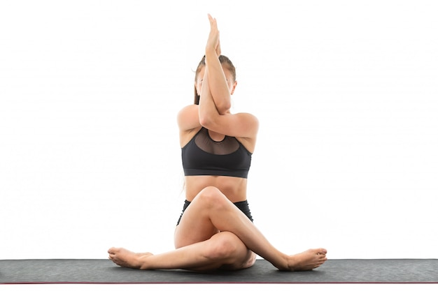 Sport caucasian woman doing yoga and relax