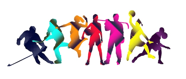 Sport collage made of drawing sportsmen with bright fluid colors isolated