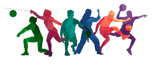 明るい流体の色が分離されたスポーツ選手を描くことで作られたスポーツコラージュ