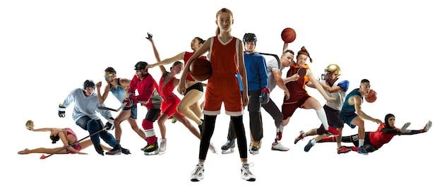 白い背景、チラシに分離されたプロスポーツ選手や選手のスポーツコラージュ