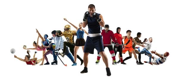 Спортивный коллаж профессиональных спортсменов или игроков, изолированные на белом фоне, флаер