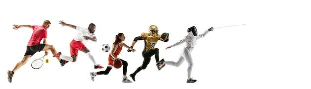 Спортивный коллаж профессиональных спортсменов или игроков, изолированные на белой стене, флаер