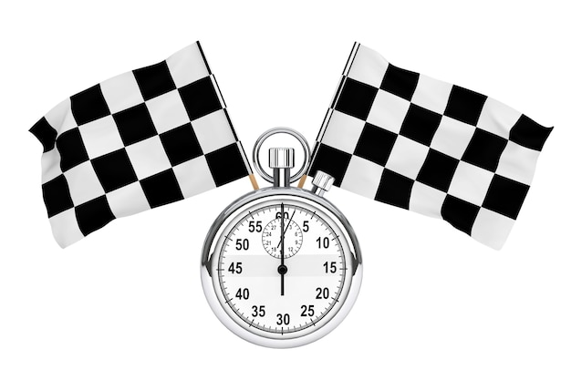 Sport concept. stopwatch with checkered flags on a white background