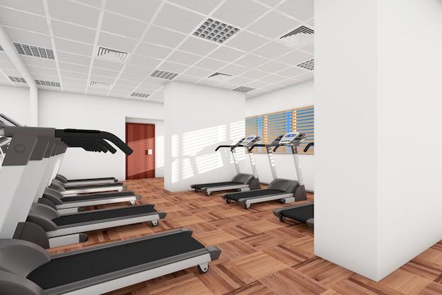 Концепция спорта. беговые дорожки подряд в тренажерном зале