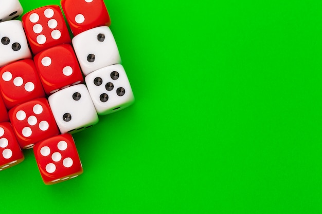 Sport dice on green background
