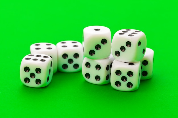 Sport dices on green background