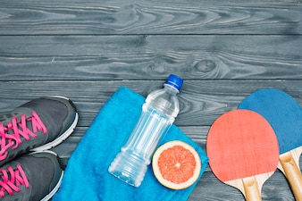 Sport equipment for table tennis and healthy food