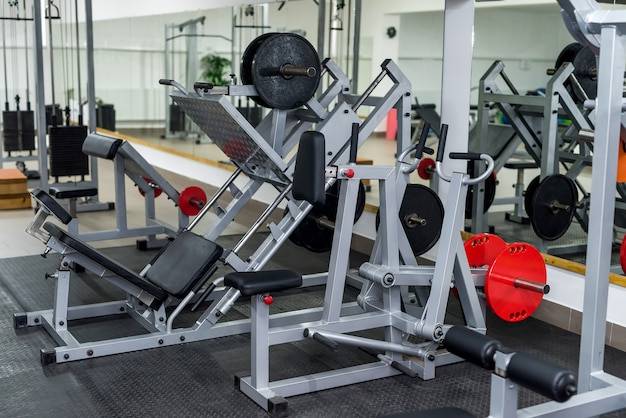 Sport equipment in gym close up .