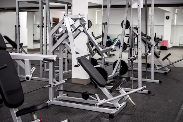 Sport equipment in gym close up