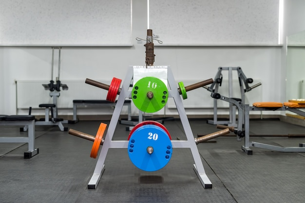 Sport equipment in gym for exercises .