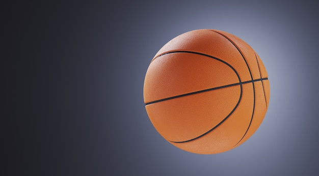 Sport equipment for minimal diet and healthy concept. close up basketball on grey wall. 3d rendering illustration.