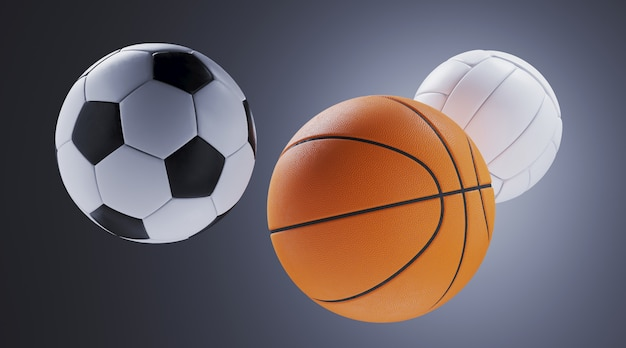 Sport equipment for minimal diet and healthy concept. close up soccer ball,basketball and volleyball on grey wall. 3d rendering illustration.