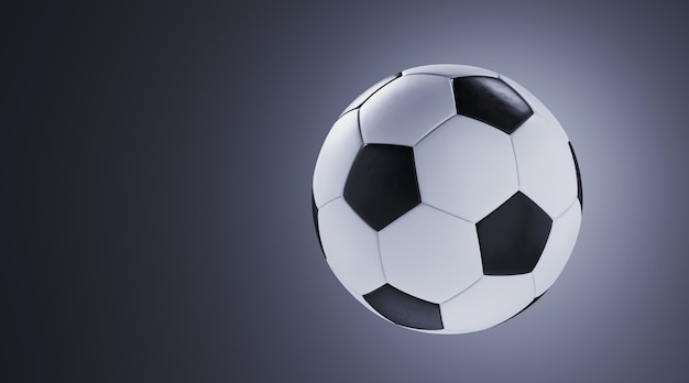 Sport equipment for minimal diet and healthy concept. close up soccer ball on grey wall. 3d rendering illustration.