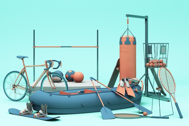 Sport equipments on green background. 3d rendering
