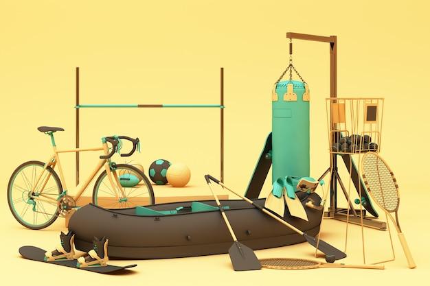 黄色の背景にスポーツ用品。 3dレンダリング