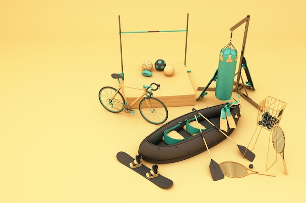 Sport equipments on yellow background. 3d rendering