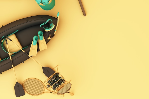Sport equipments on yellow background top view. 3d rendering