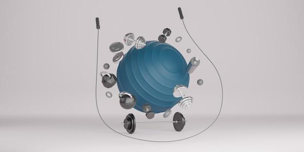 スポーツフィットネス機器:ブルーヨガフィットボール、ボトル入り飲料水、ダンベル、縄跳び、バーベル