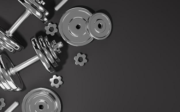 Спортивное оборудование для фитнеса, металлические гантели или штанги на черном фоне, 3d-рендеринг.