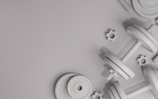 Спортивное оборудование для фитнеса, металлические гантели или штанги на белом фоне, 3d-рендеринг.