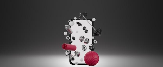 Оборудование для спортивного фитнеса: мобильный макет с белым экраном, красный коврик для йоги, мяч для фитнеса, бутылка воды, гантели и штанга.