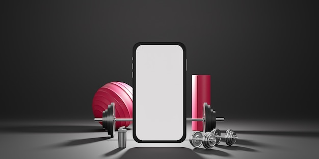 Оборудование для спортивного фитнеса: мобильный макет с белым экраном, красный коврик для йоги, фитнес-мяч, бутылка воды, гантели.