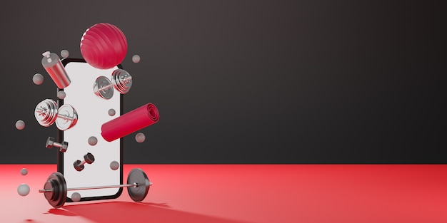 Sport fitness equipment : white screen mobile mockup, red yoga mat, fit ball, bottle of water, dumbbells and barbell