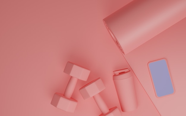 Спортивное оборудование для фитнеса: мобильный макет с белым экраном, коврик для йоги, бутылка воды, гантели розового цвета