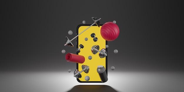 Спортивное оборудование для фитнеса: мобильный макет с желтым экраном, красный коврик для йоги, фитнес-мяч, бутылка воды, гантели и штанга.