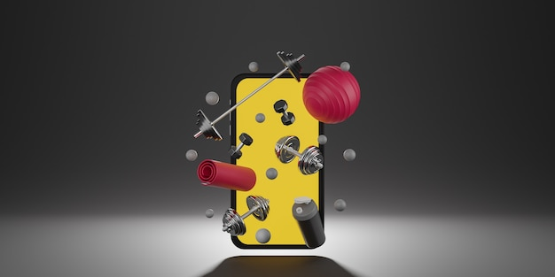 Sport fitness equipment : yellow screen mobile mockup, red yoga mat, fit ball, bottle of water, dumbbells and barbell