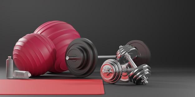 Спортивное оборудование для фитнеса, коврик для йоги, мяч для фитнеса, бутылка воды, гантели и штанга.