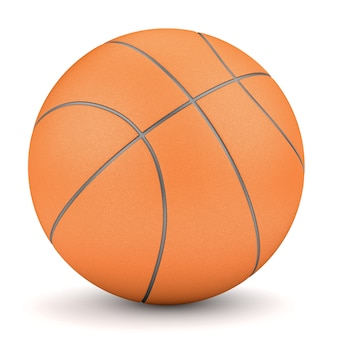 Sport and fitness symbol. render of simple orange basketball isolated on white background