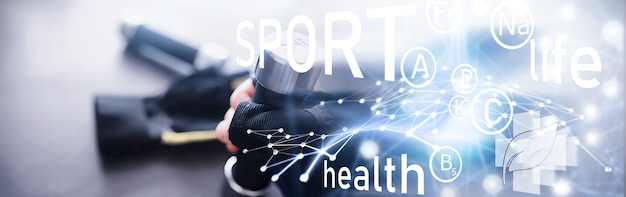 Sport and healthy lifestyle. accessories for sports. yoga mat dumbbell and jump rope. sports background with home exercises concept.