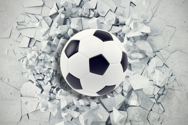 Sport illustration with soccer ball coming in cracked wall. cracked concrete earth abstract. 3d rendering