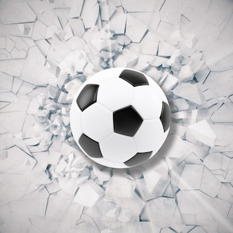 Sport illustration with soccer ball coming in cracked wall.
