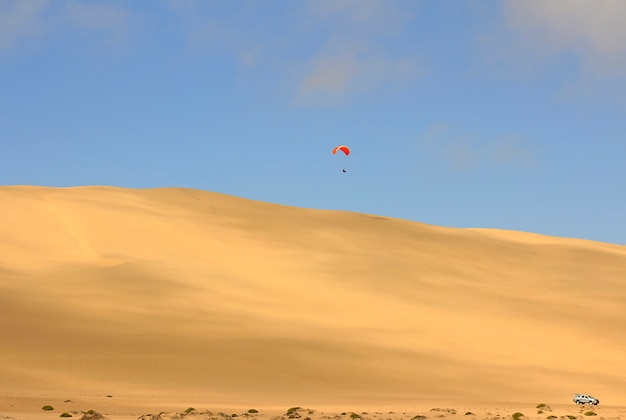 The sport of jumping from the sand dune and performing acrobatic maneuvers in the air during free fall before landing by parachute
