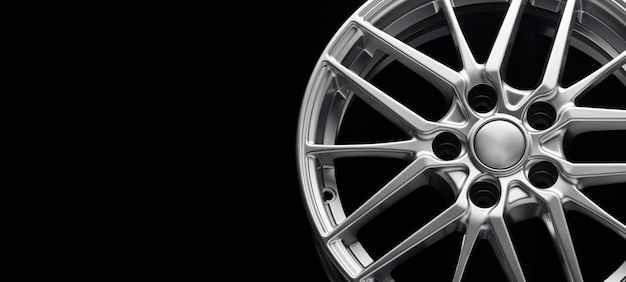 Sport lightweight alloy wheel spokes and rim front view copy space