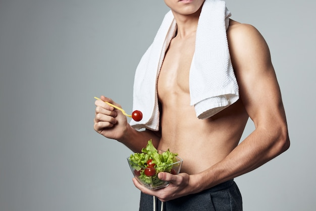 Sport man healthy food workout cropped view isolated background