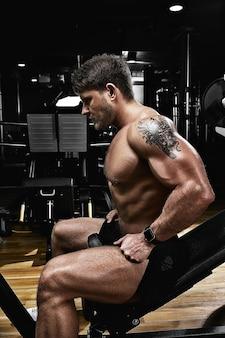 스포츠 동기 부여. 체육관 극장. 체육관에서 아령으로 운동을하는 근육 질의 남자 보디. 운동 몸, 건강한 라이프 스타일, 피트니스 동기 부여, 신체 긍정적.