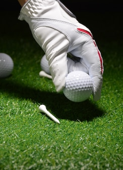 Sport objects related to golf such as gloves, balls etc.
