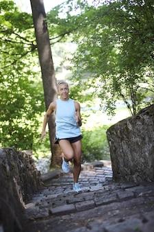 Sport oudoor, girl jogging