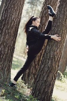 Sport outdoor, girl streching, girl streching