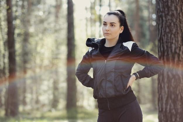 Sport outdoor, girl streching, girl streching