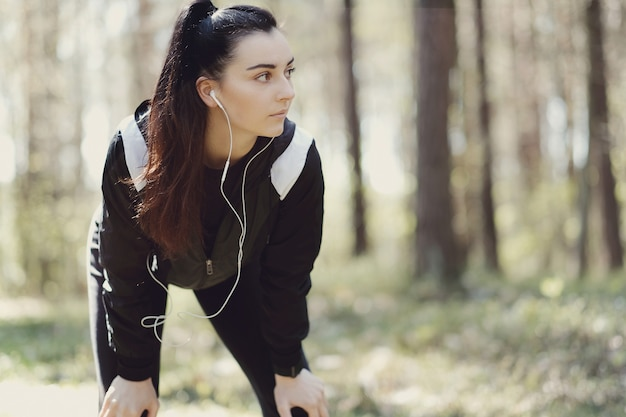 Sport outdoor, girl streching