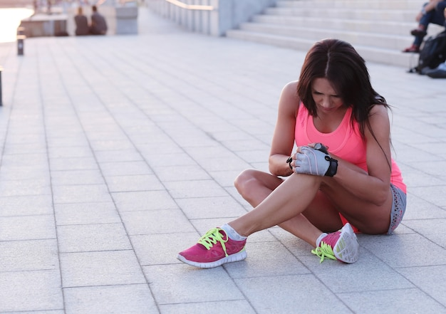 Sport outdoor, woman stretching