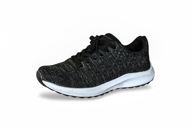 Sport shoes black sneakers isolated on isolated white background with clippingpath.