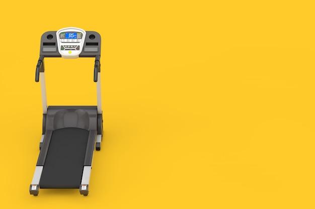 黄色の背景にスポーツトレッドミルマシン。 3dレンダリング