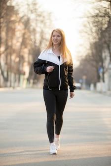 Sport walking in the morning